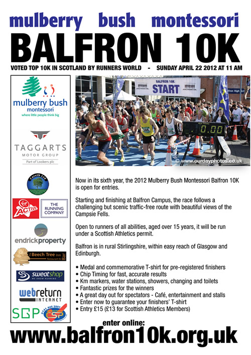 Balfron 10k race leaflet 2012