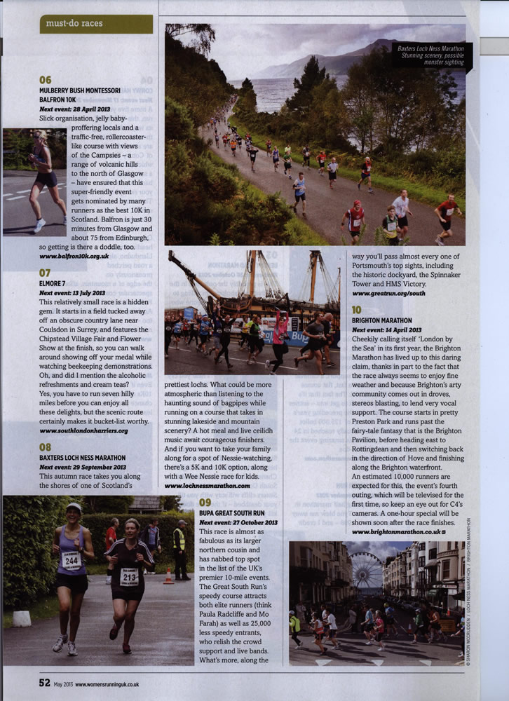 "Womens Running Magazine ""Perfect 10"" Bucket List"