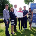 l-r Colin Mendham, race director and Mairi Clark, MD of main sponsor Mulberry Bush Montessori, Elaine Bannatyne, head of Balfron High School, Angus Black, head of Balfron Primary School; Grace Wilson, CHAS, Neil McQuarrie head of PE, Balfron High School